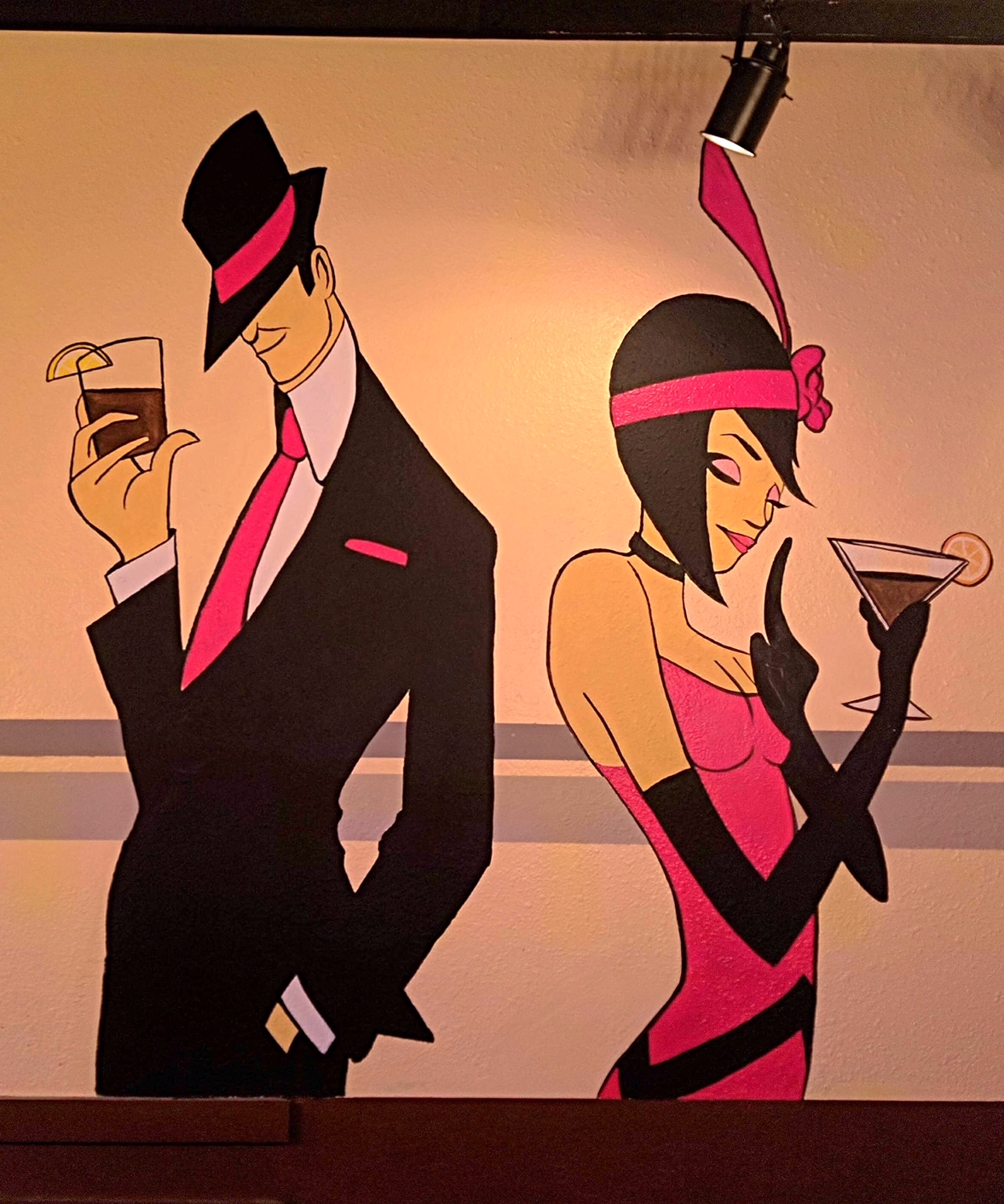 speakeasy mural of flapper and gangster