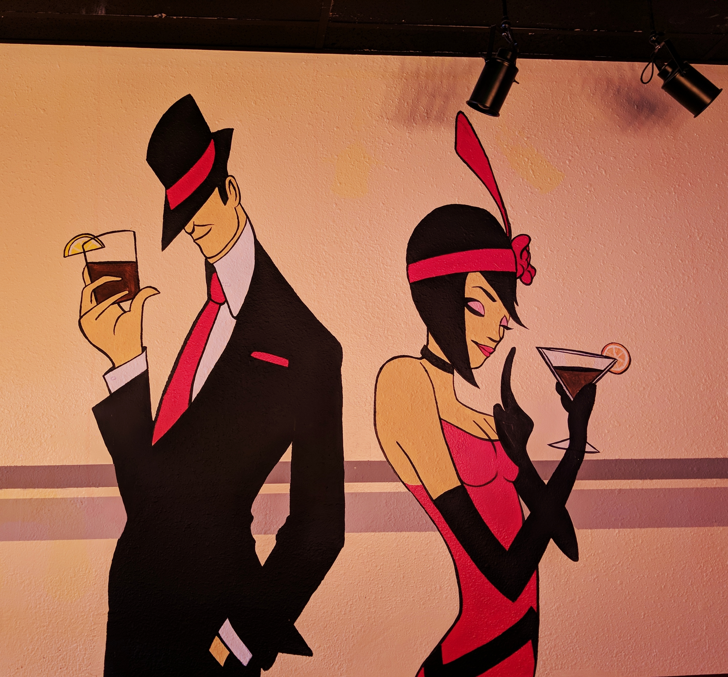 speakeasy kava mural flapper gangster