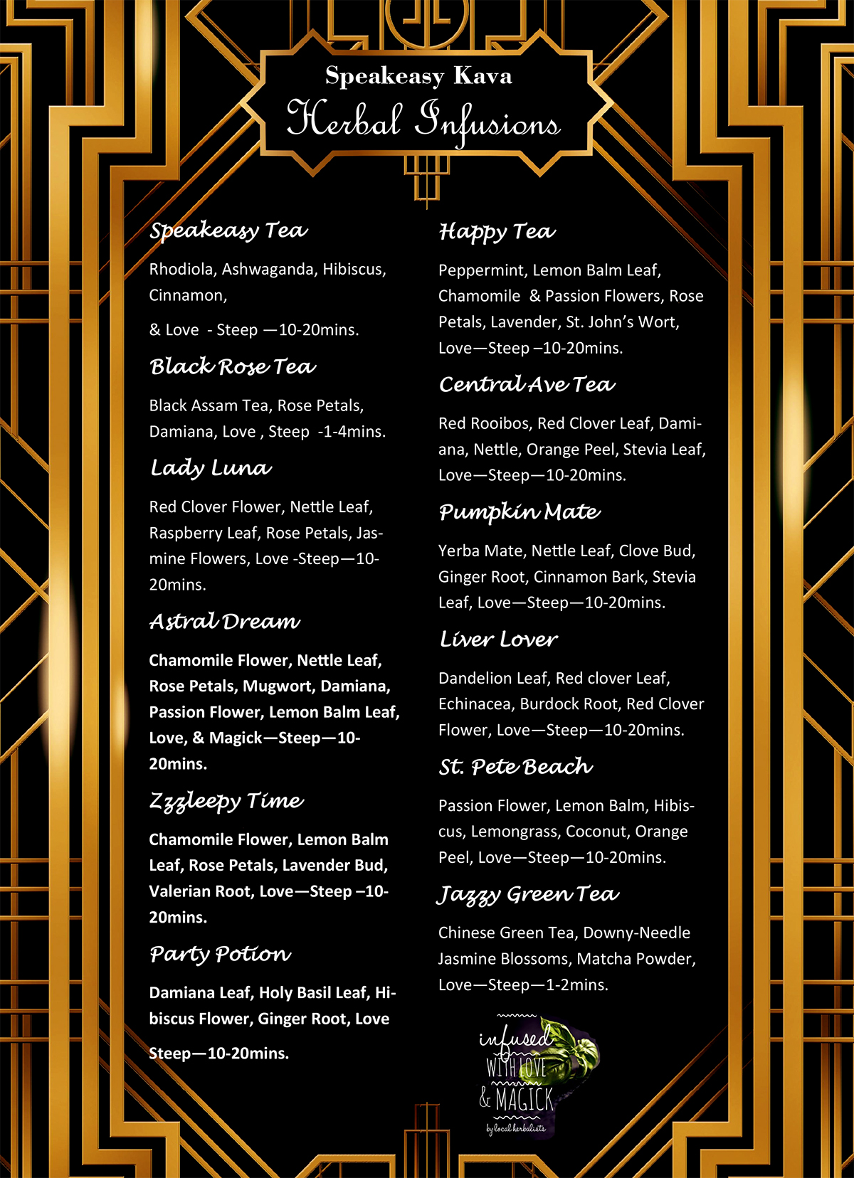 speakeasy kava looseleaf tea bar menu